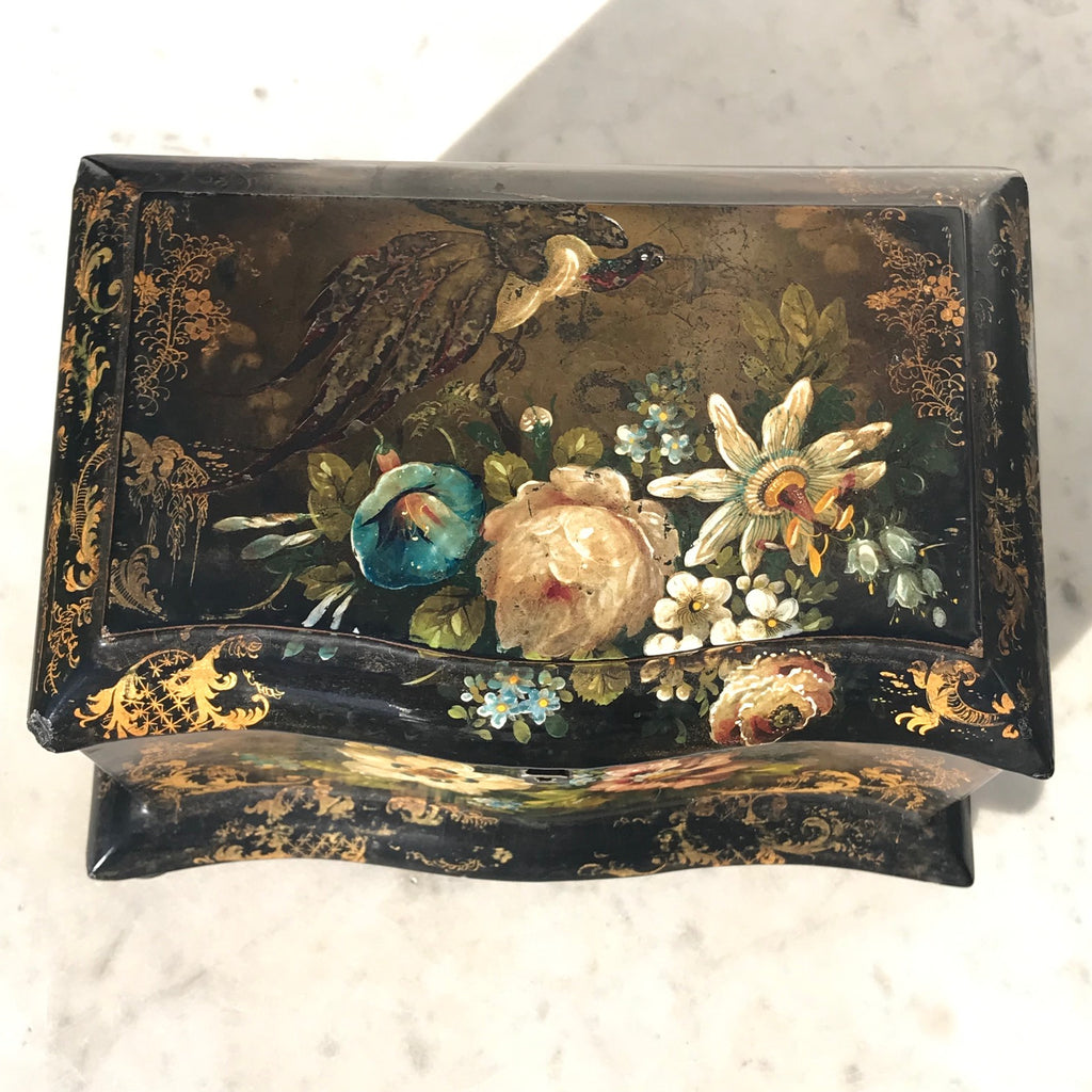Victorian Serpentine Papier Mache Tea Caddy - Top View - 3