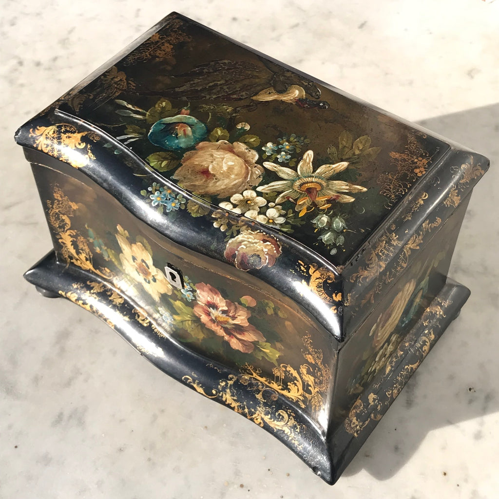 Victorian Serpentine Papier Mache Tea Caddy - Top View - 7