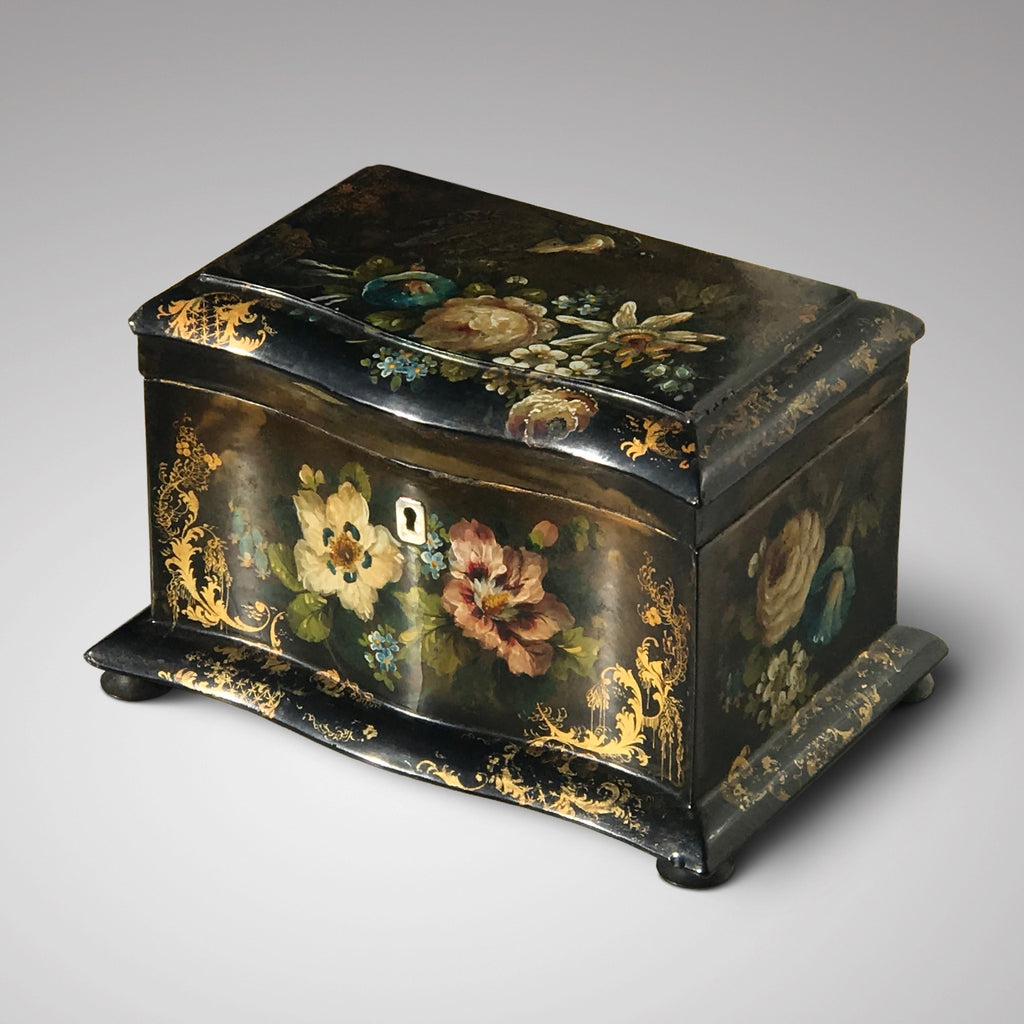 Victorian Serpentine Papier Mache Tea Caddy - Main View - 1