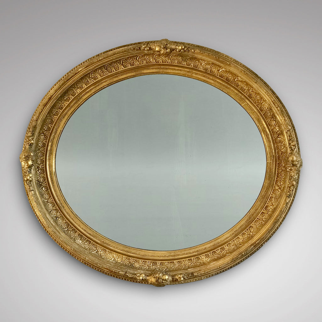 19th Century Oval Gilt Wood Mirror - Main View - 1