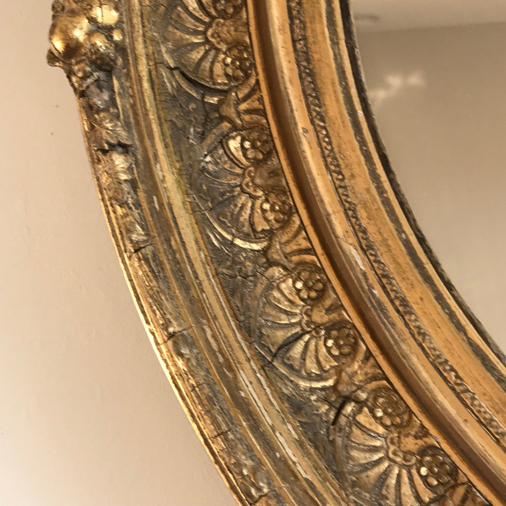 19th Century Oval Gilt Wood Mirror - Detail View - 4