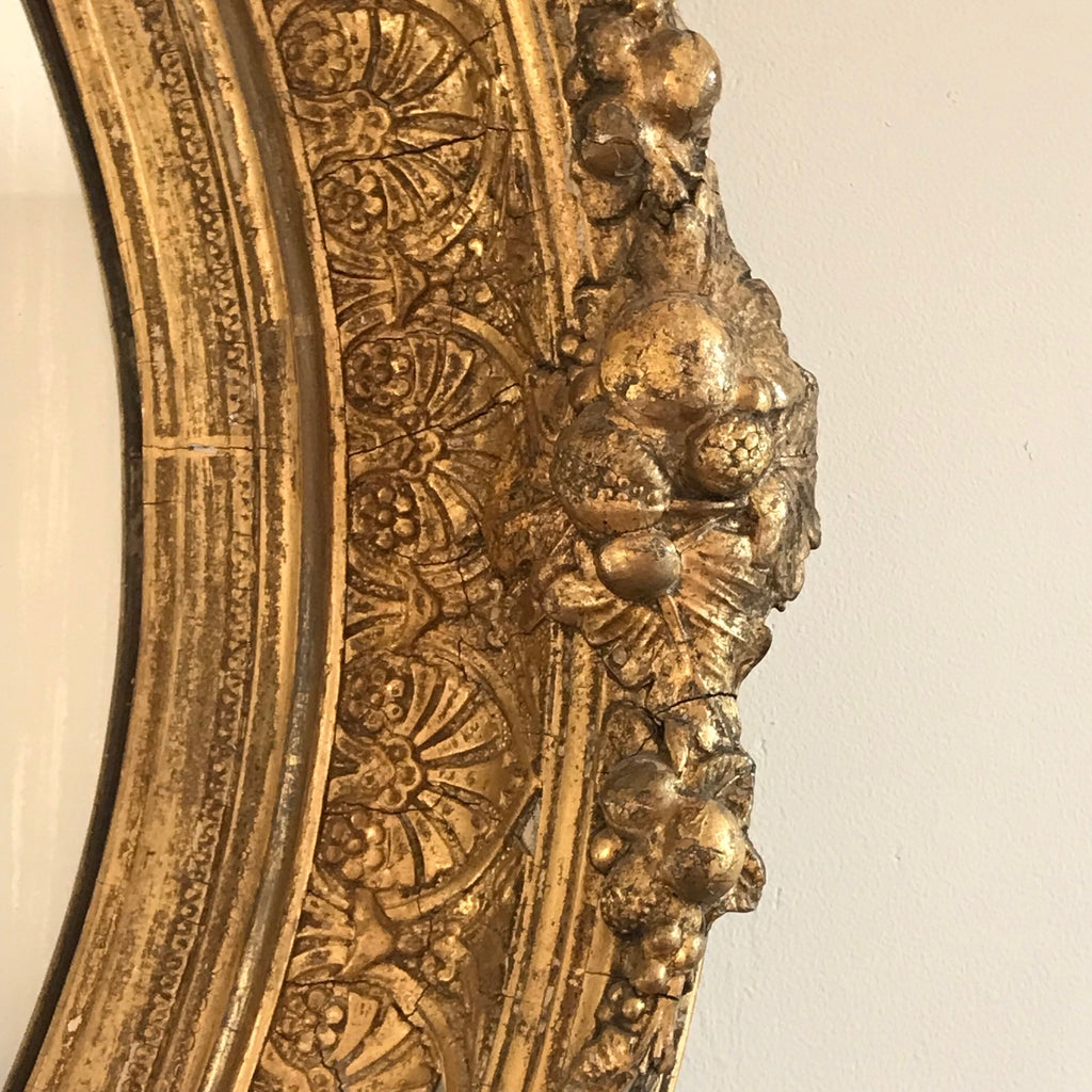 19th Century Oval Gilt Wood Mirror - Detail View - 3