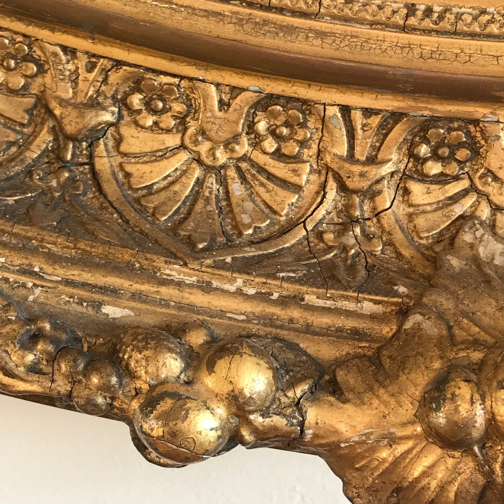 19th Century Oval Gilt Wood Mirror - Detail View - 2