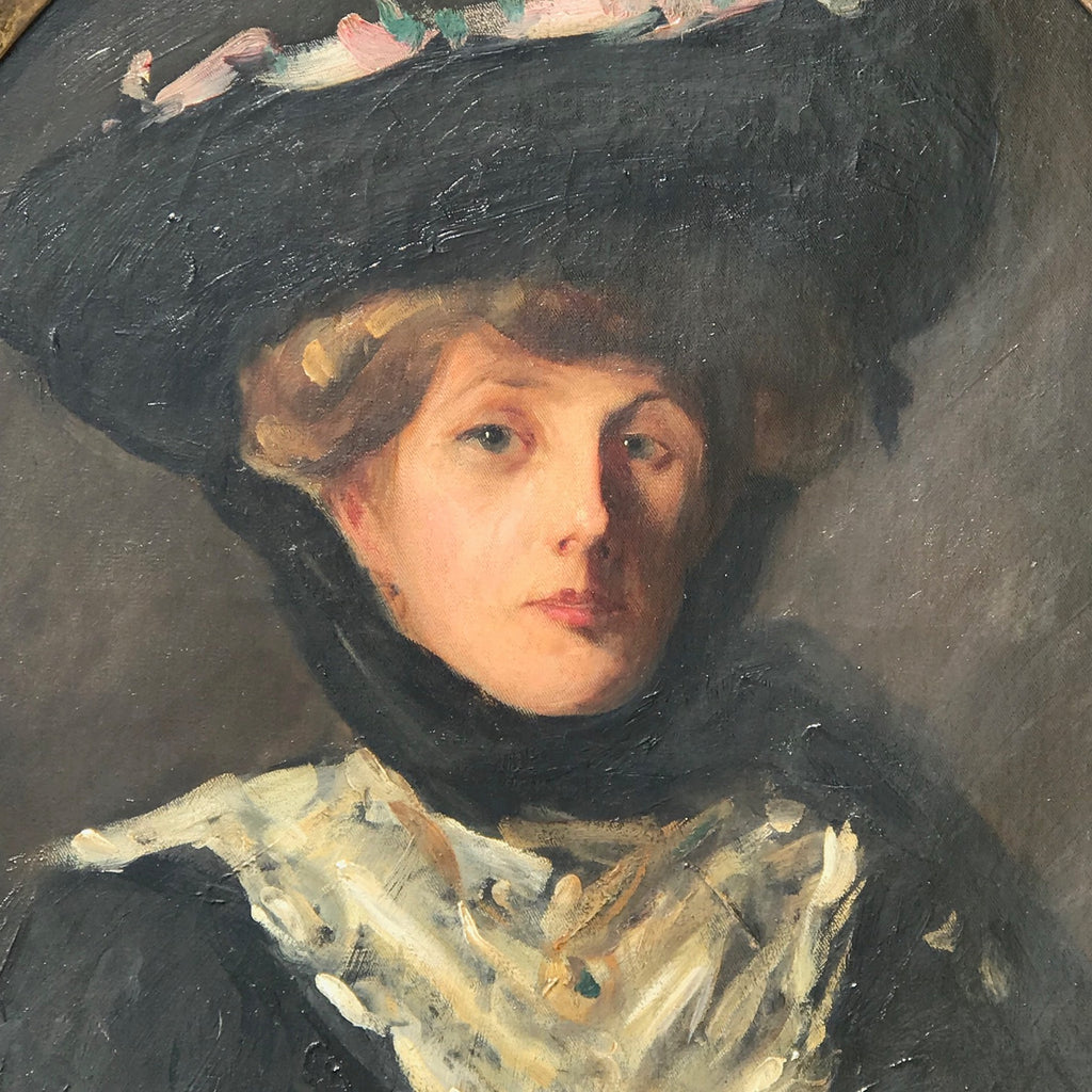 Oil Portrait of a Lady in a Ribboned Hat, Circle of Sir John Lavery RA - Detailed View - 4