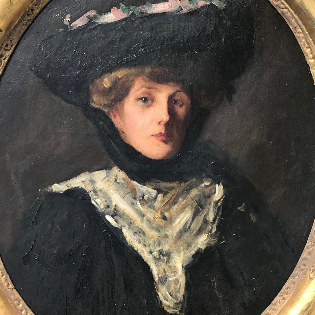 Oil Portrait of a Lady in a Ribboned Hat, Circle of Sir John Lavery RA - Detail View