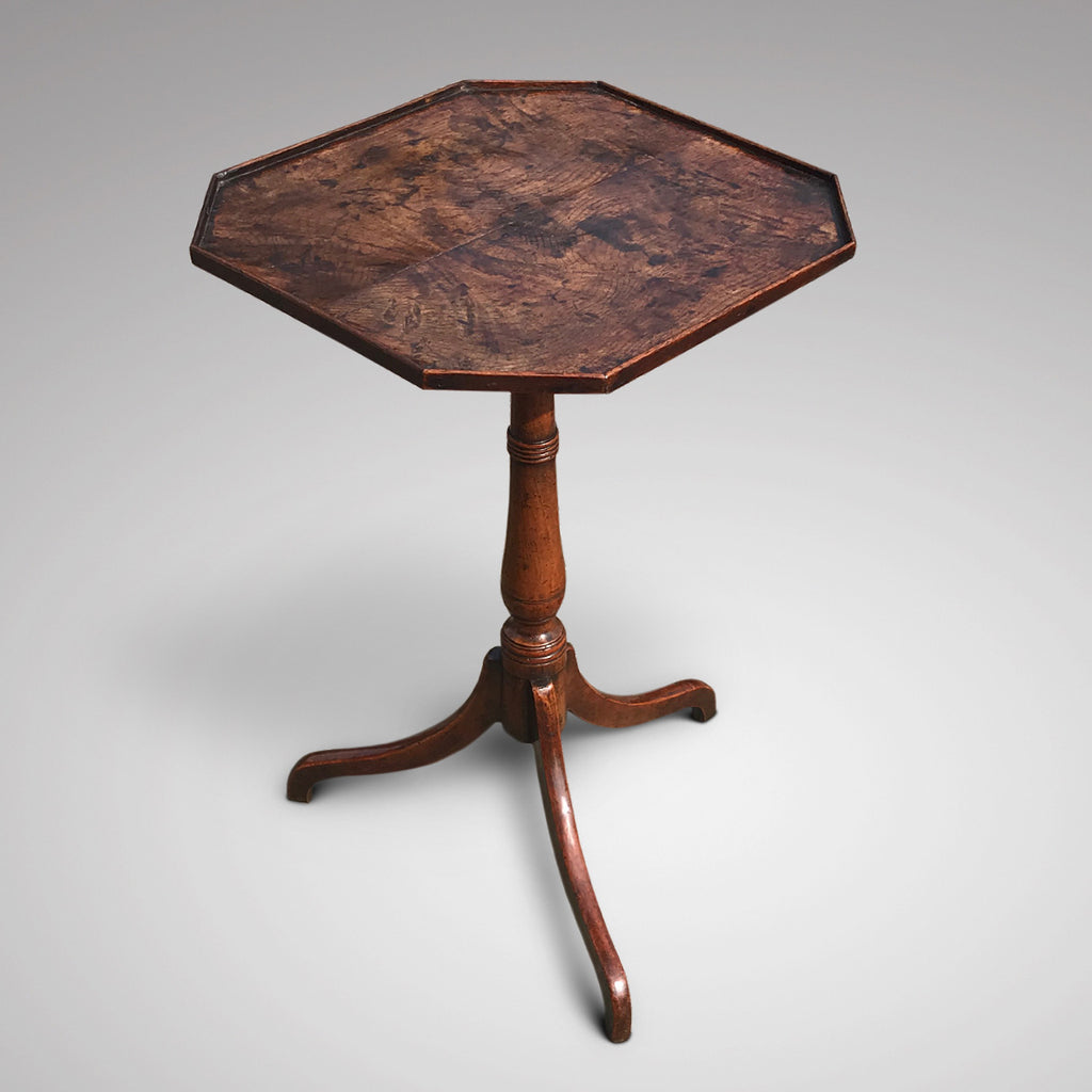 George II Octagonal Oak & Fruitwood Pillar Table - Main View - 1