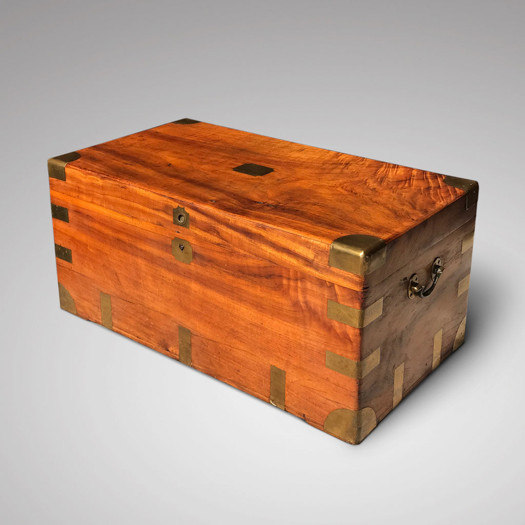 19th Century Camphor Wood Campaign Trunk - Front & Side View - 1