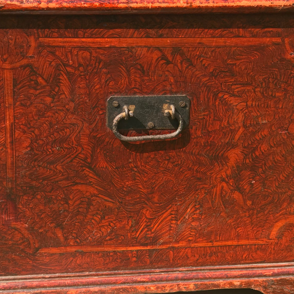 Victorian Red Scumble Painted Blanket Box - Side View - 4