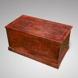 Victorian Red Scumble Painted Blanket Box - Back View - 2