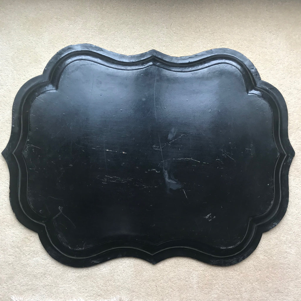 Victorian Papier Mache Tray Inlaid with Mother of Pearl - Back View - 3