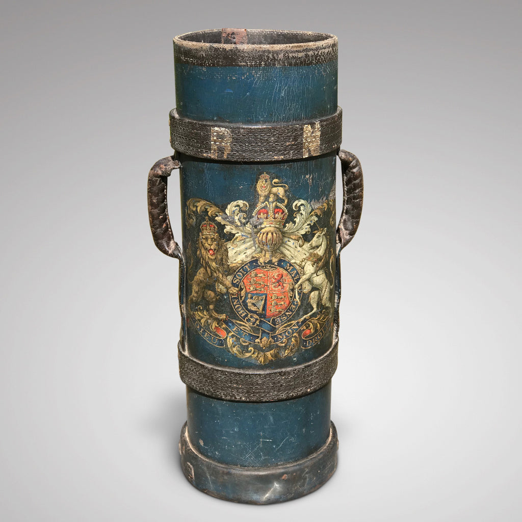 19th Century Blue Leather Stick Stand with Coat of Arms - Main View -1