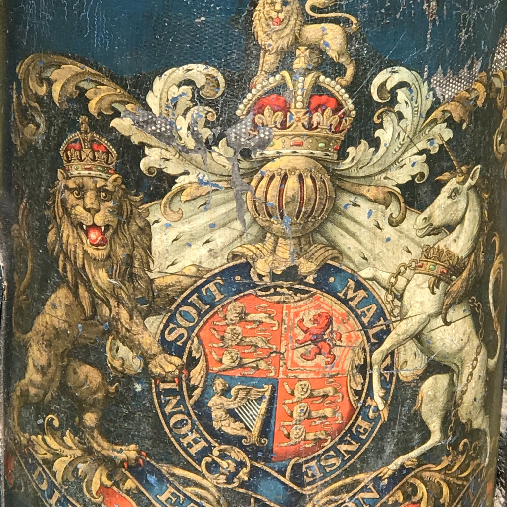 19th Century Blue Leather Stick Stand with Coat of Arms - Detail View - 6