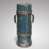19th Century Blue Leather Stick Stand with Coat of Arms - Back View -2