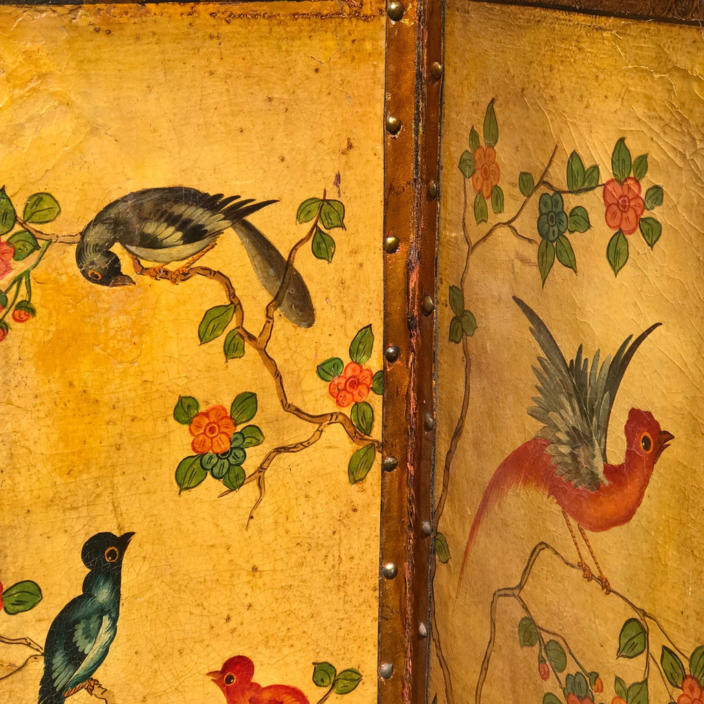 19th Century Painted Leather Screen - Detail View - 4