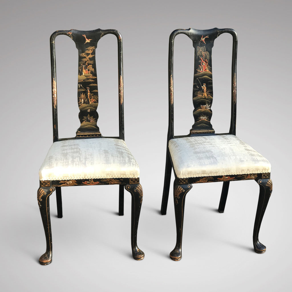 Pair of Early 20th Century Chinoiserie Side Chairs