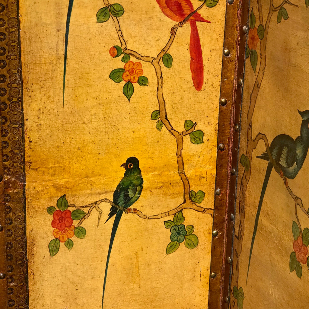 19th Century Painted Leather Screen - Detail View - 5