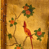 19th Century Painted Leather Screen - Detail View - 7