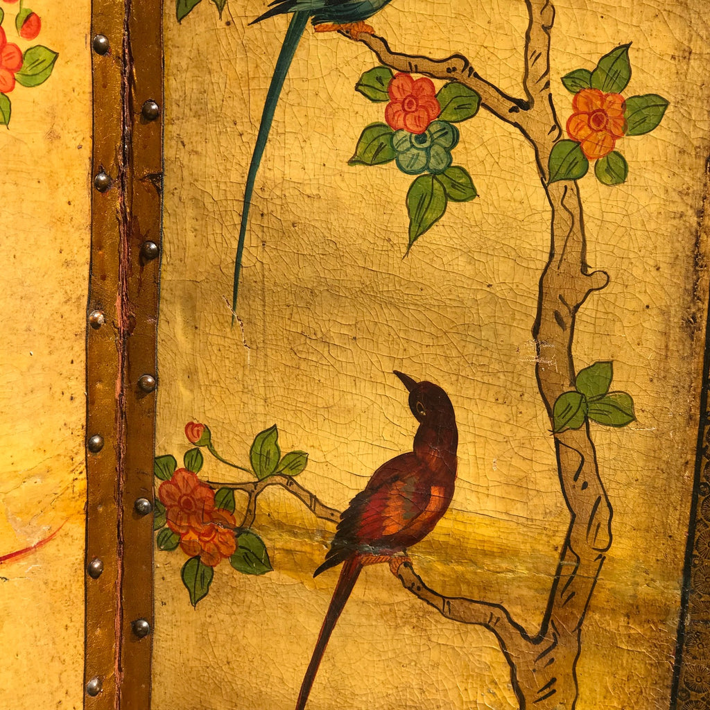 19th Century Painted Leather Screen - Detail View - 8