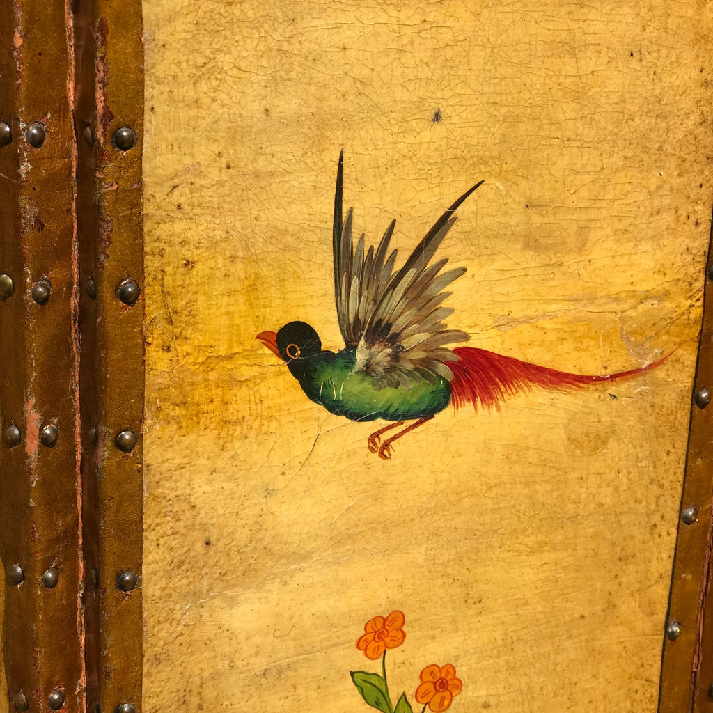 19th Century Painted Leather Screen - Detail View - 9