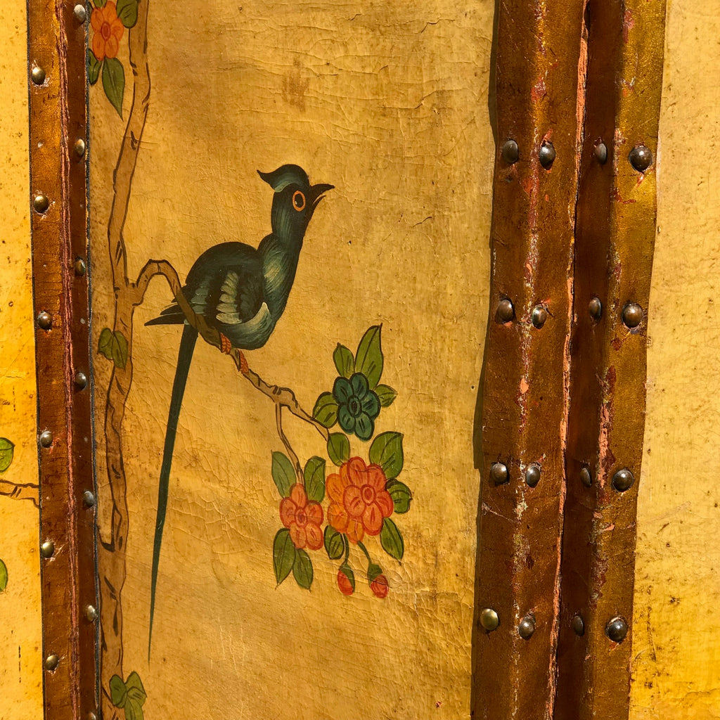 19th Century Painted Leather Screen - Detail View - 10