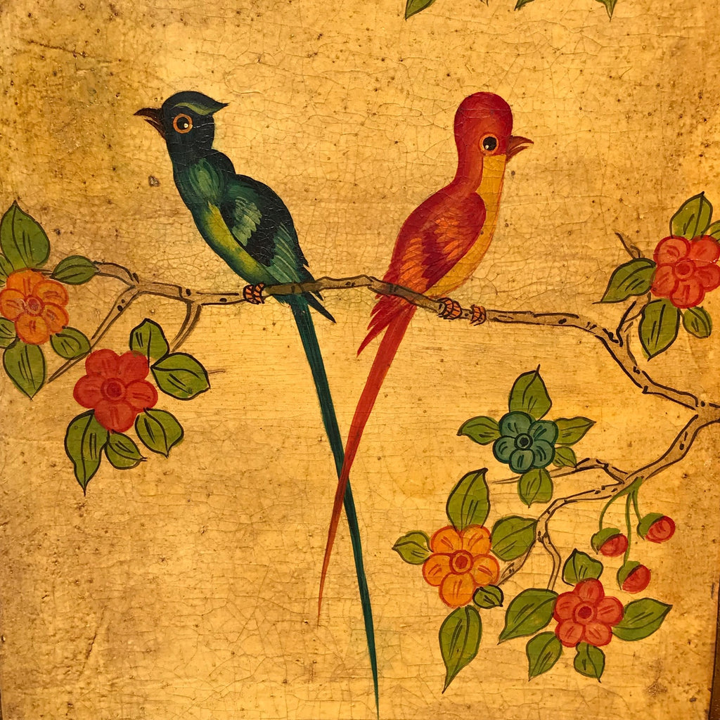 19th Century Painted Leather Screen - Detail View - 11
