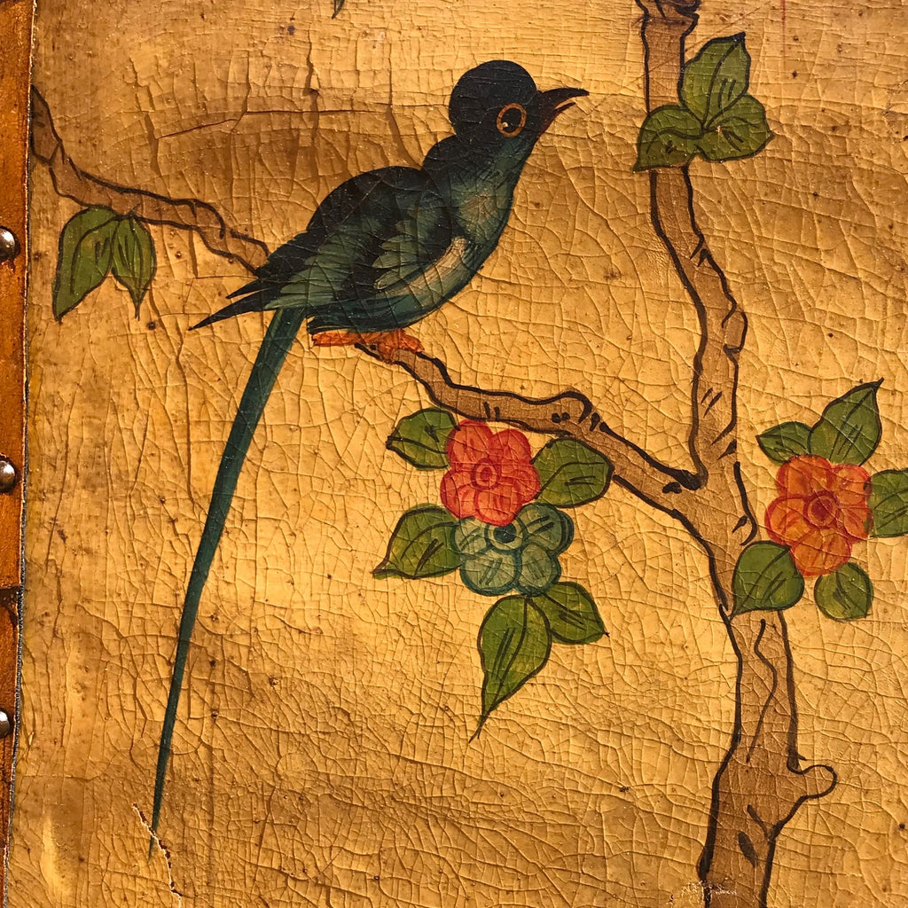 19th Century Painted Leather Screen - Detail View - 12