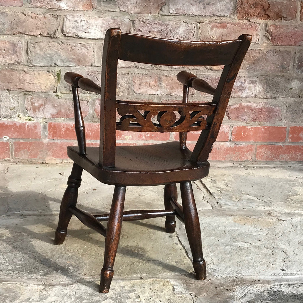 Late 18th Century Welsh Child's Elm & Ash Armchair - Back View - 4