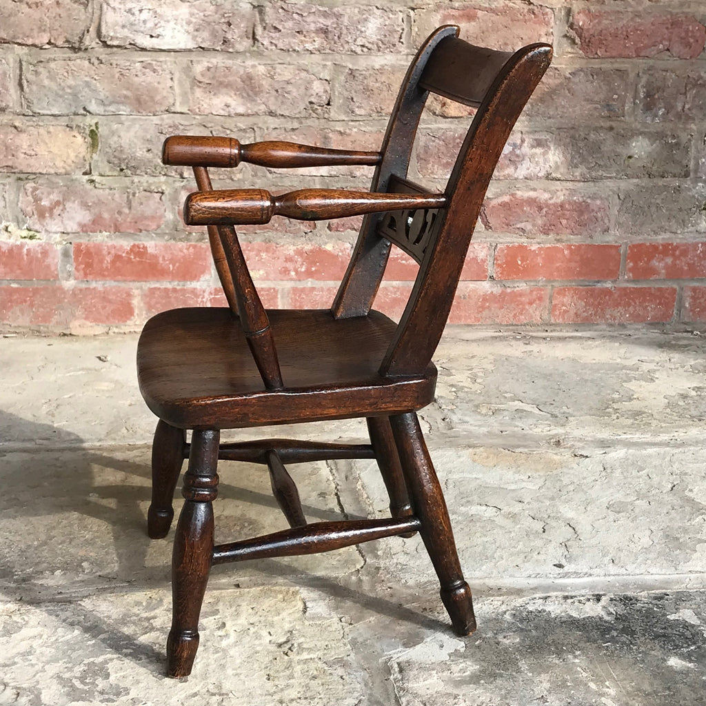Late 18th Century Welsh Child's Elm & Ash Armchair - Side View - 3