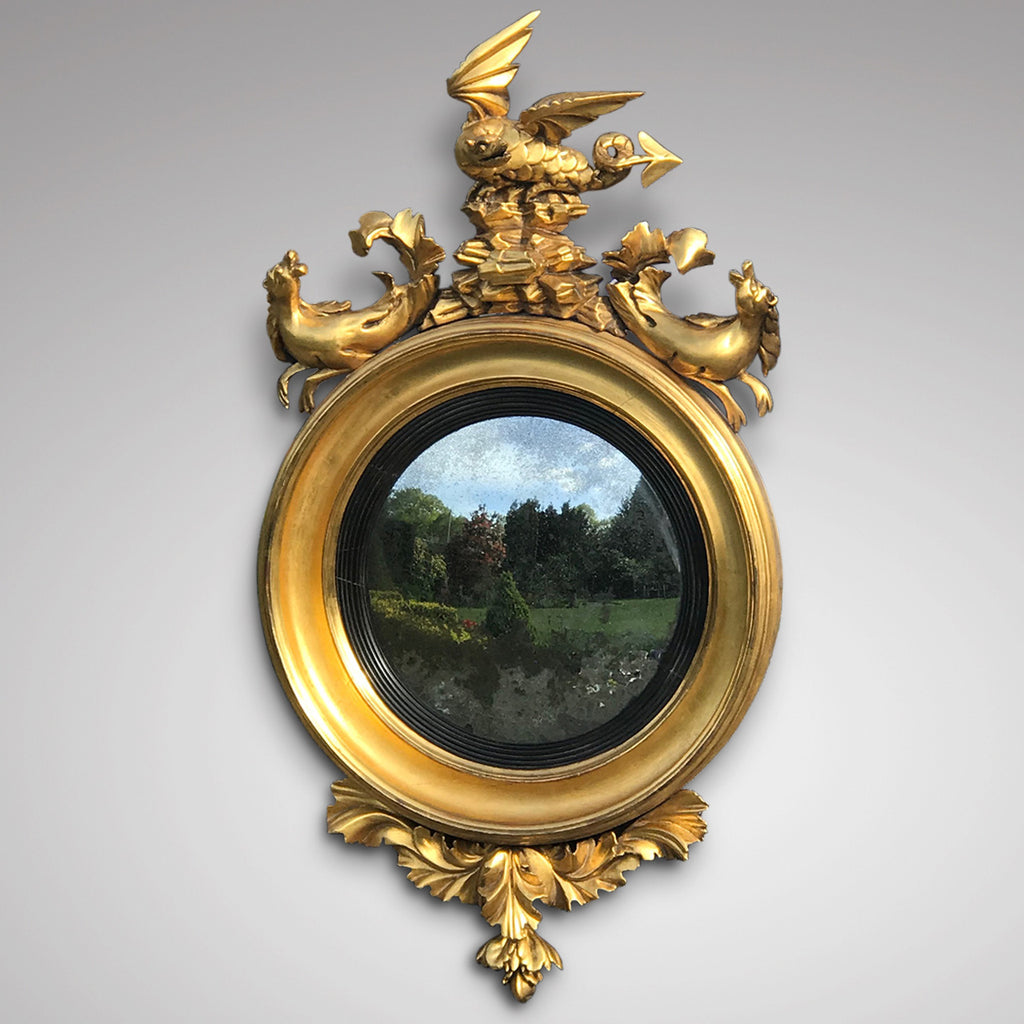 Regency Carved & Gilded Convex Mirror - Main View - 2