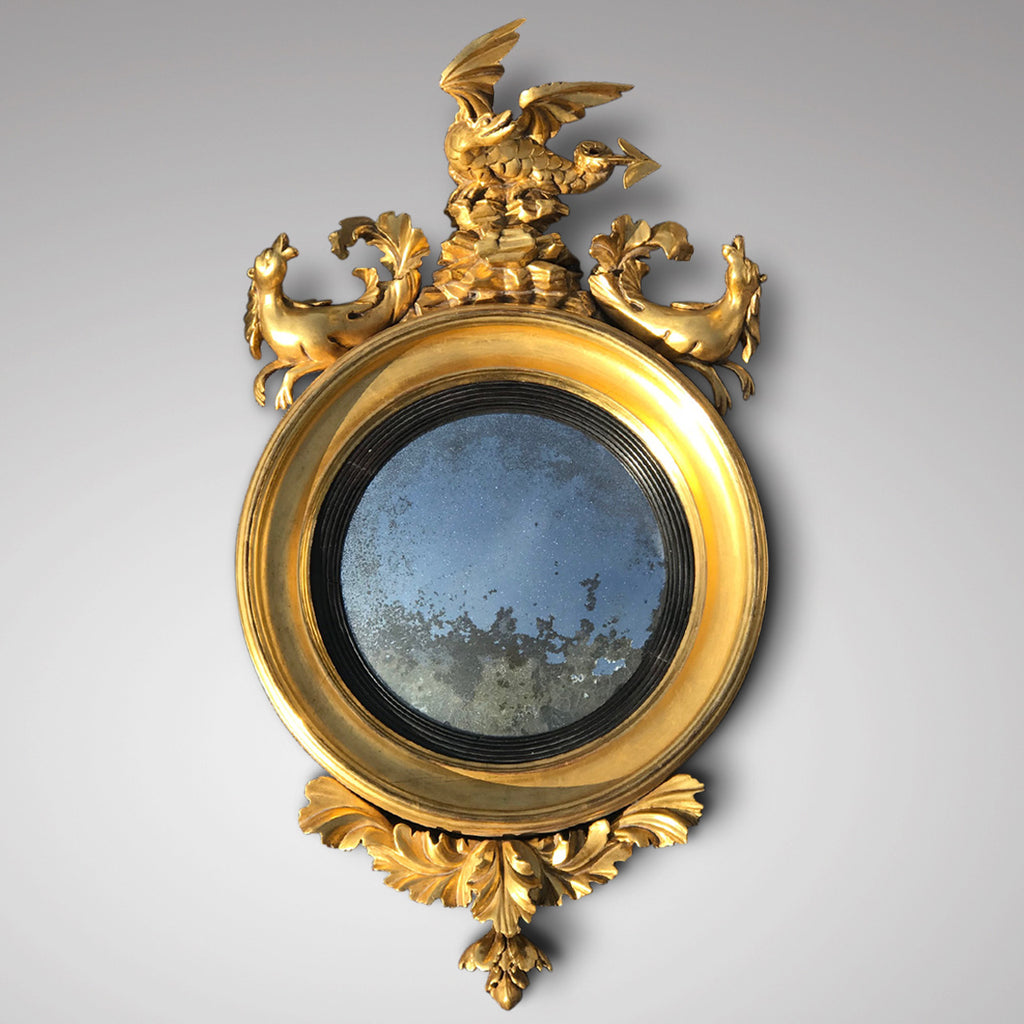 Regency Carved & Gilded Convex Mirror - Main View - 1