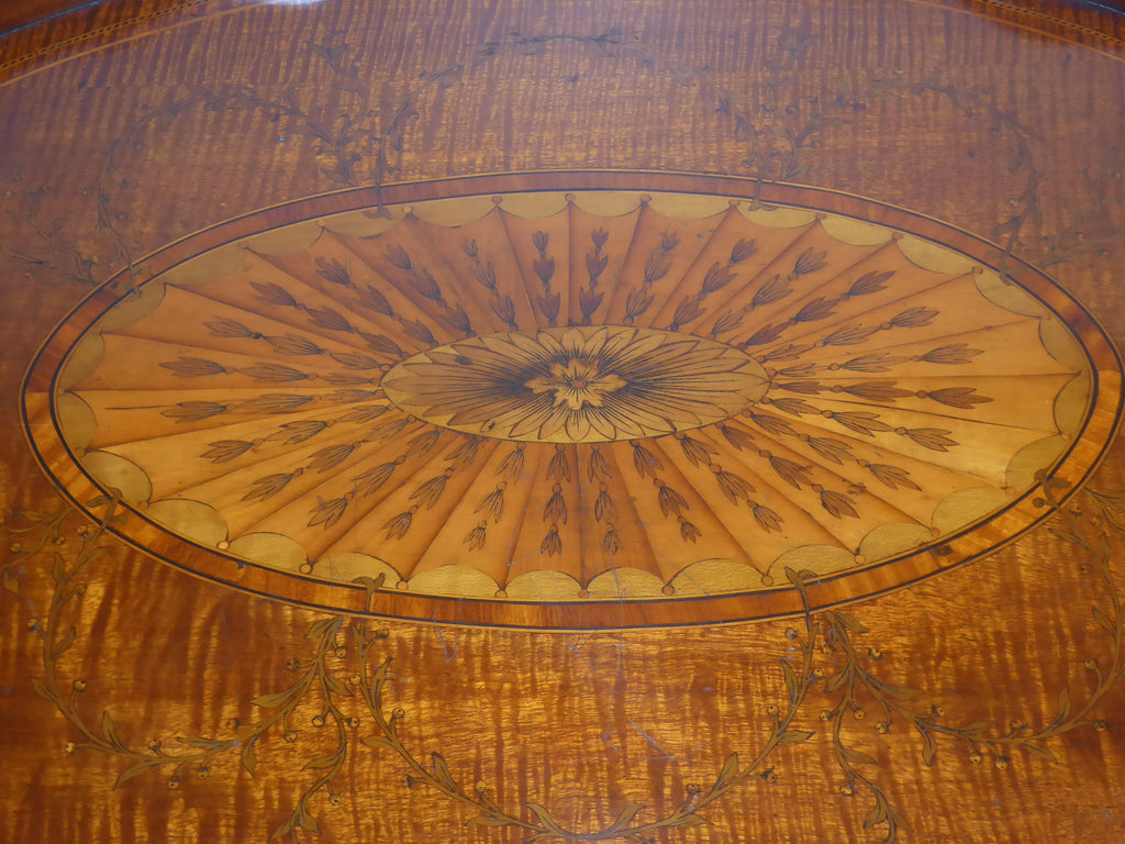 A Fine George III Marquetry Oval Tray on Stand - Hobson May Collection - 4
