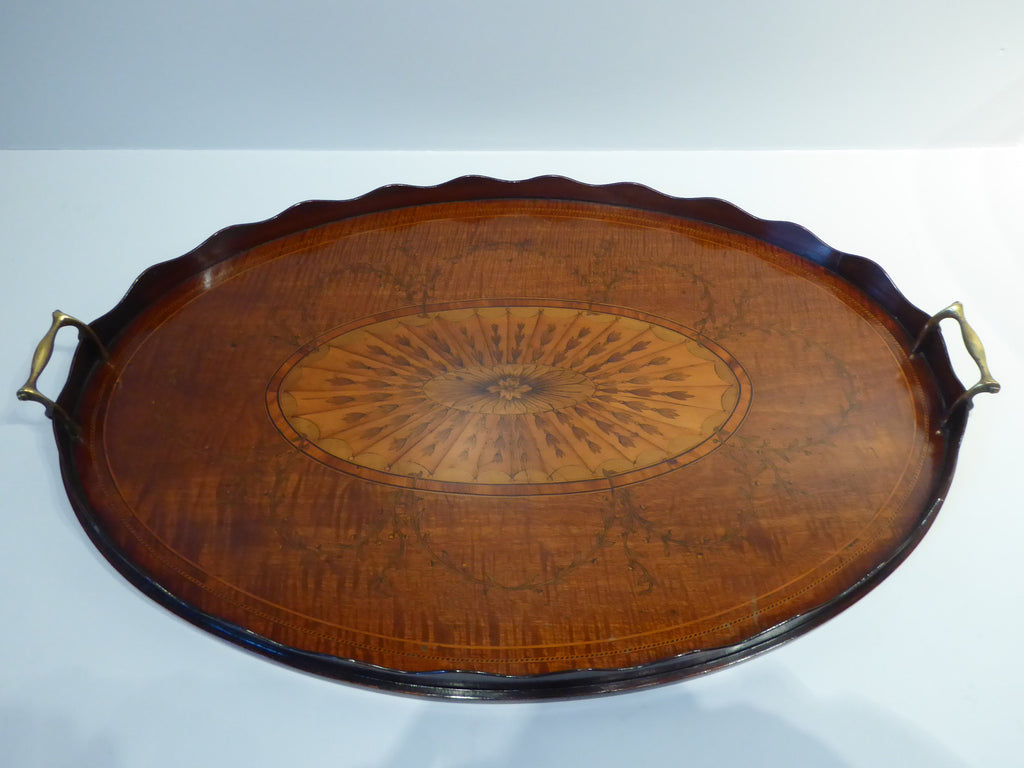 A Fine George III Marquetry Oval Tray on Stand - Hobson May Collection - 2