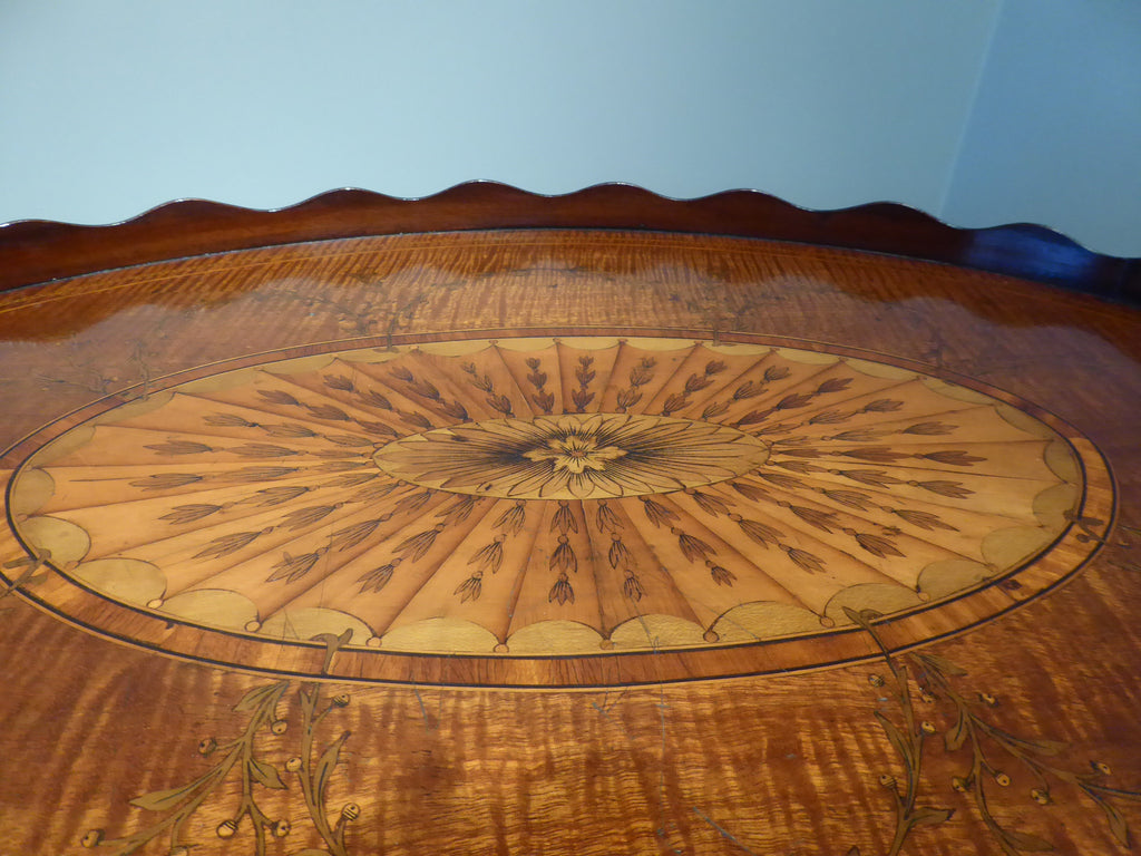 A Fine George III Marquetry Oval Tray on Stand - Hobson May Collection - 3