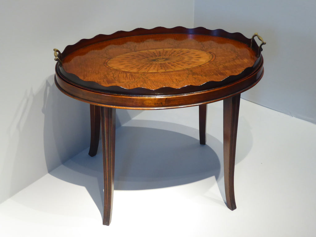 A Fine George III Marquetry Oval Tray on Stand - Hobson May Collection - 1