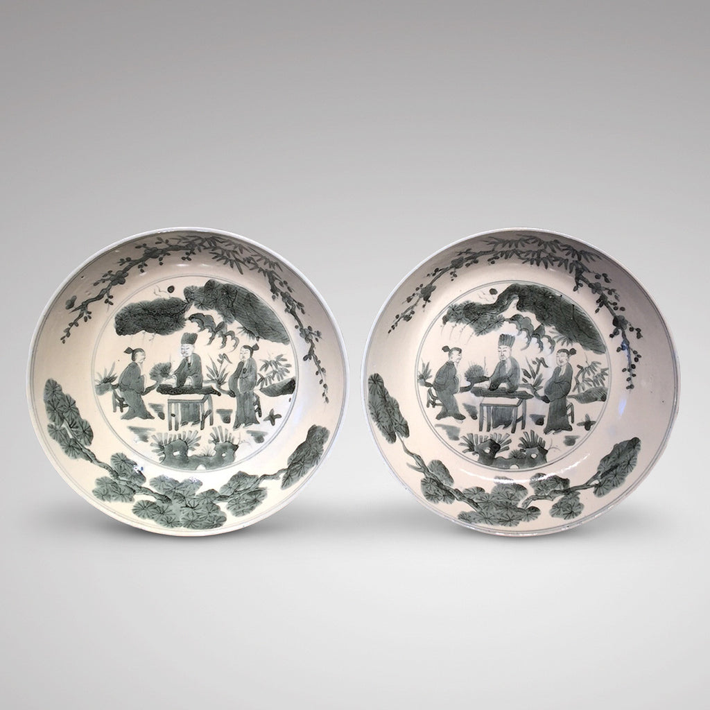 Pair of 18th Century Chinese Swatow Dishes - Front View -2