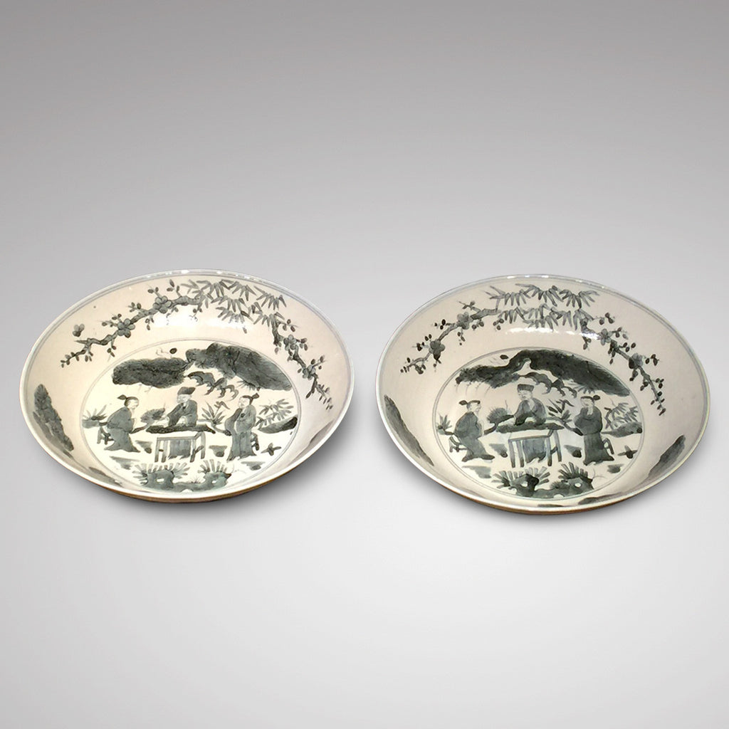 Pair of 18th Century Chinese Swatow Dishes - Front View -3