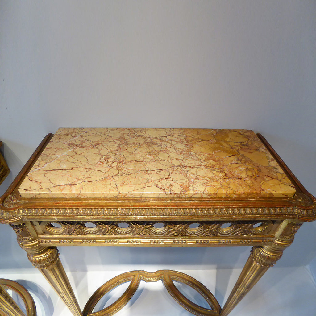 Pair of  Antique Giltwood Tables - Top Detail View- 5