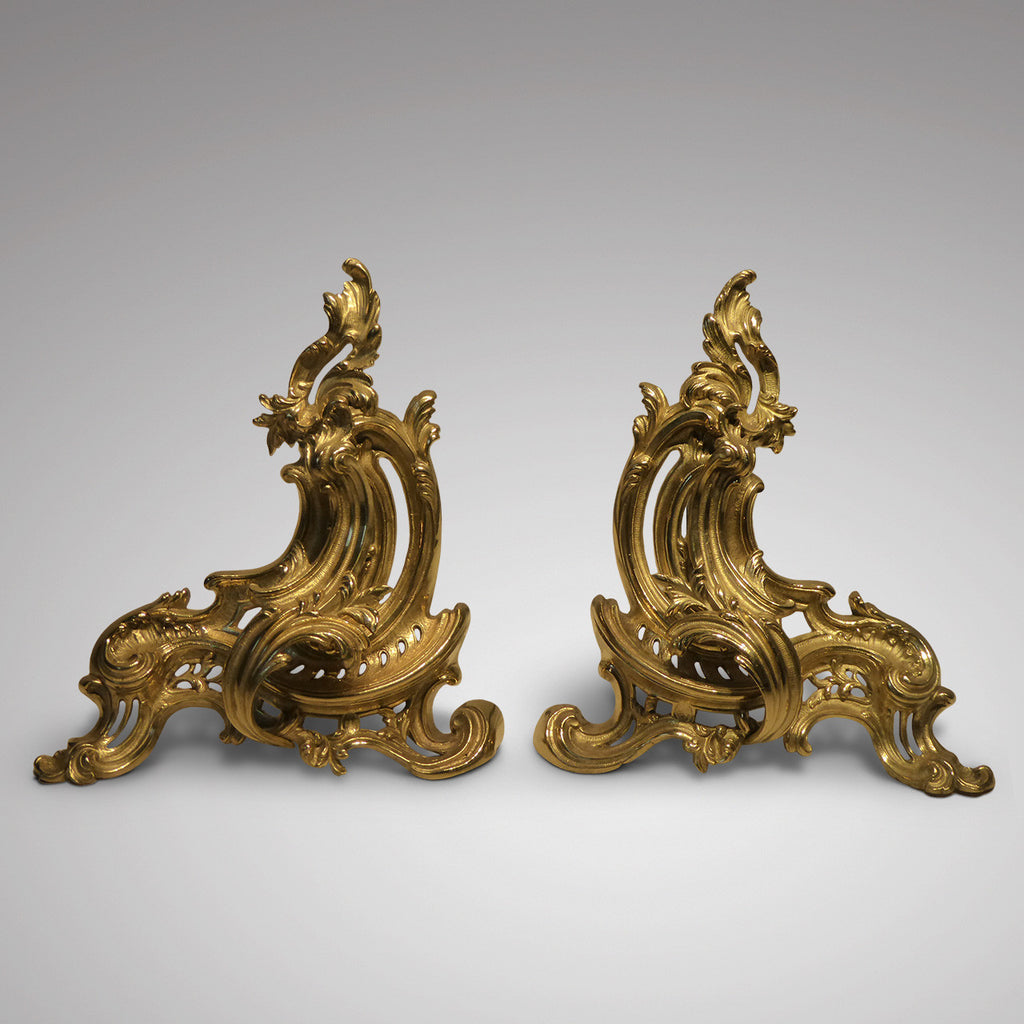 Pair of French Ormolu Chenets - Front View