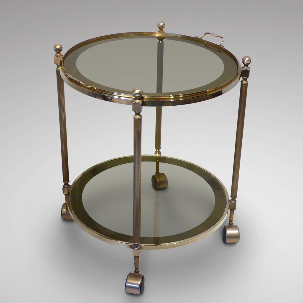 Vintage Brass Drinks Trolley/Bar Cart - Front View One