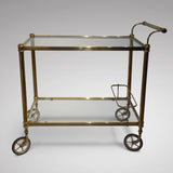 Vintage Brass Drinks Trolley - Side View One