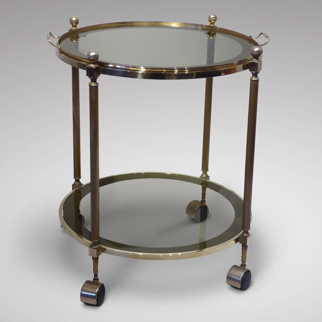 Vintage Brass Drinks Trolley/Bar cart - Front View Two