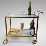 Vintage Brass Drinks Trolley - Side View Two