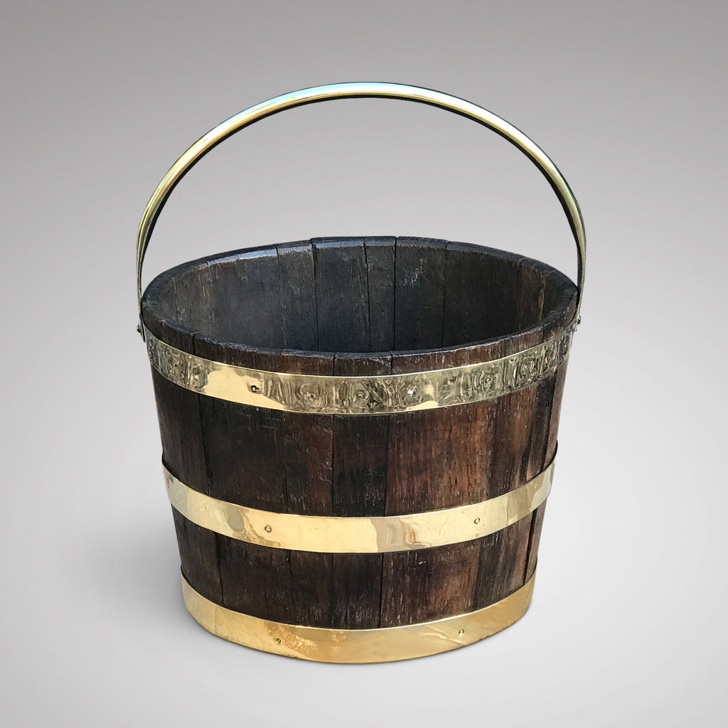 Antique English Oak Coopered Barrel - Main View - 1