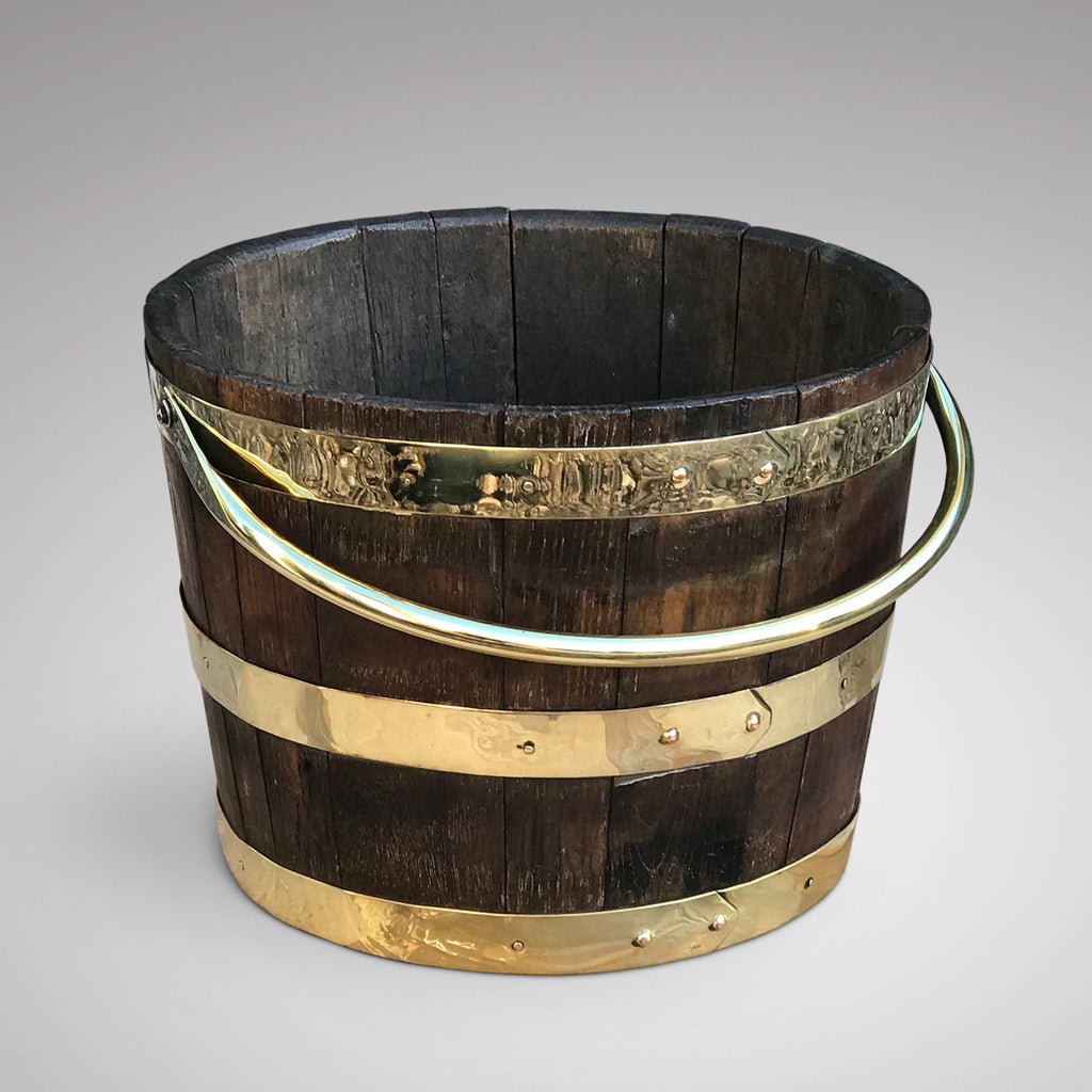 Antique English Oak Coopered Barrel - Main View - 2