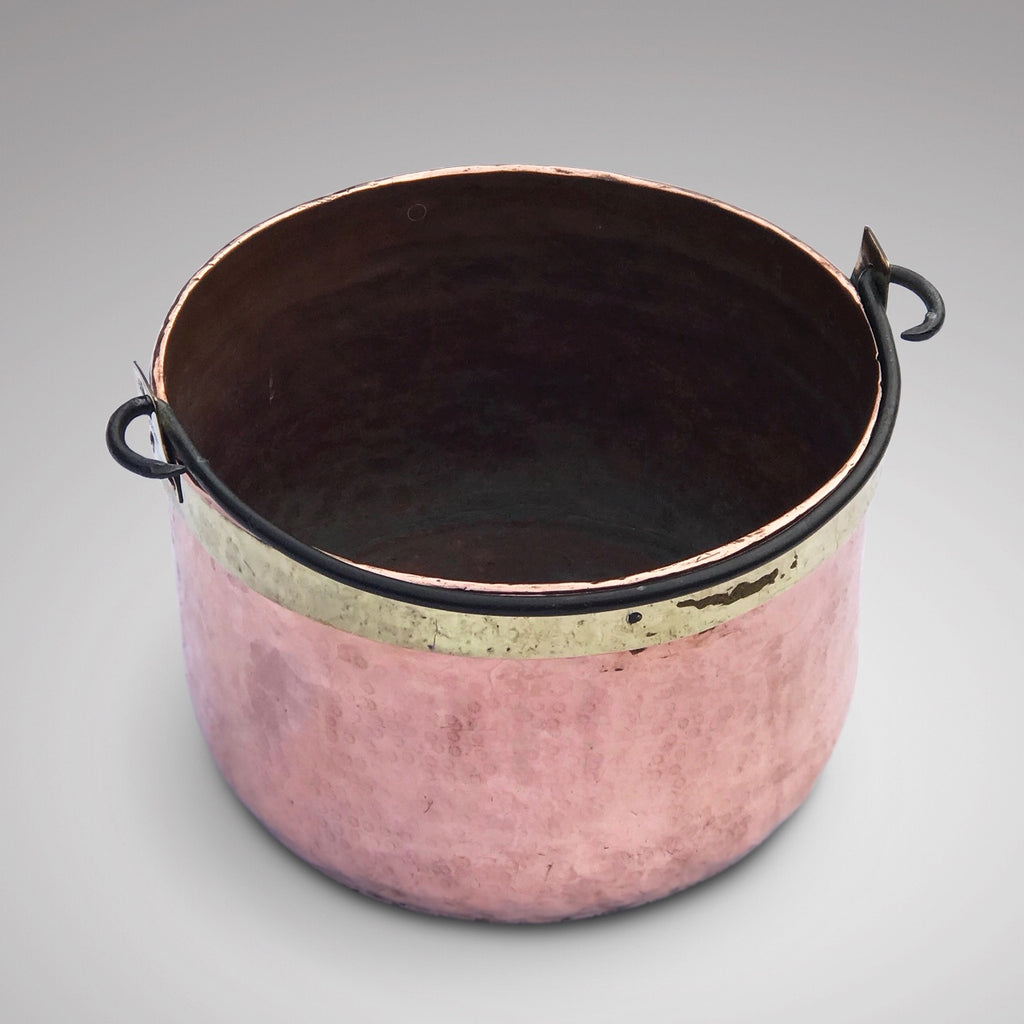 Large 19th Century Brass Bound Copper Boiling Pot - Main View - 2