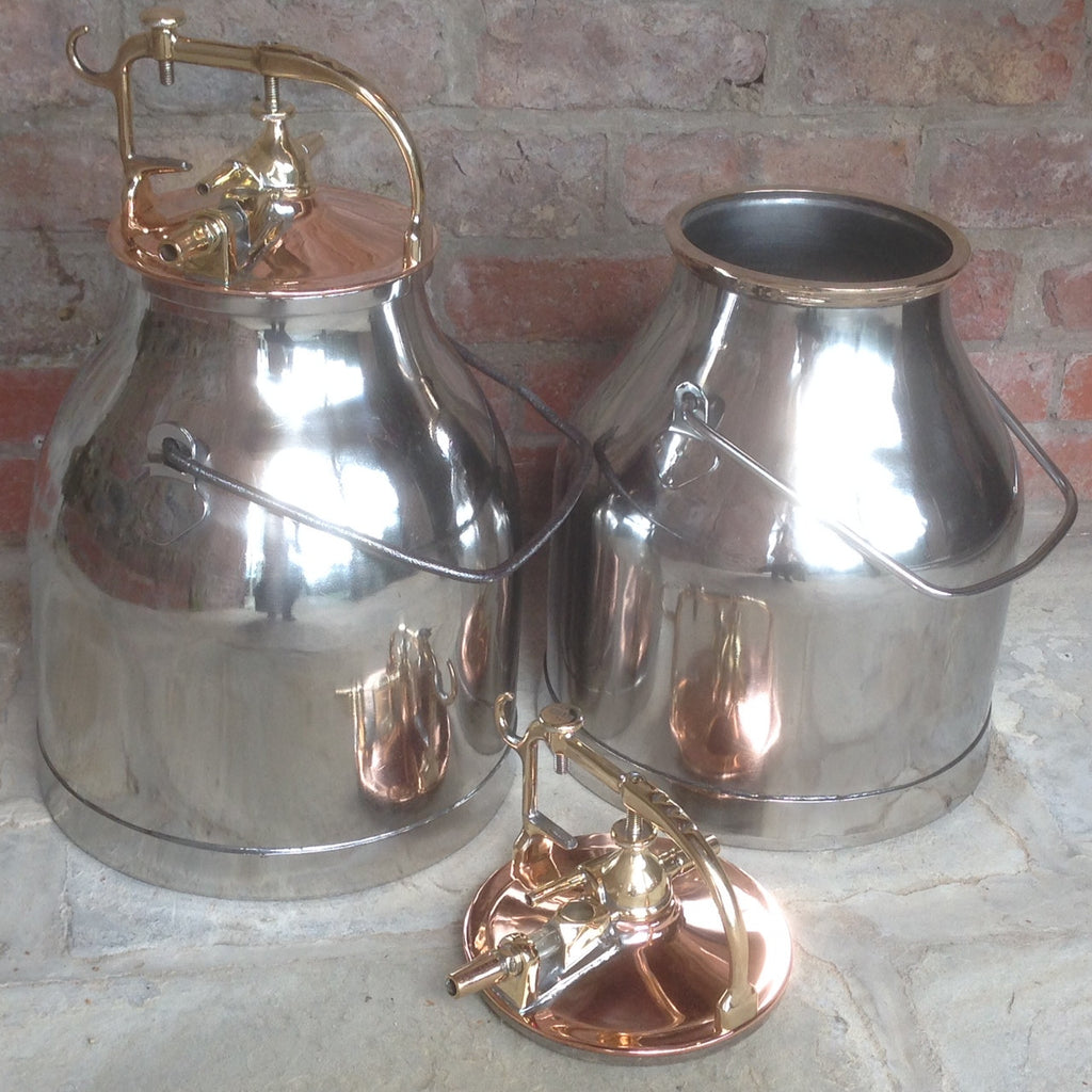 Pair of Polished Steel, Copper & Brass Milk Buckets - Front View Lid off- 4