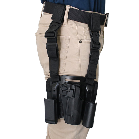 AGPtEK® Tactical Right Hand Paddle & Leg Belt Drop Leg Holster Black