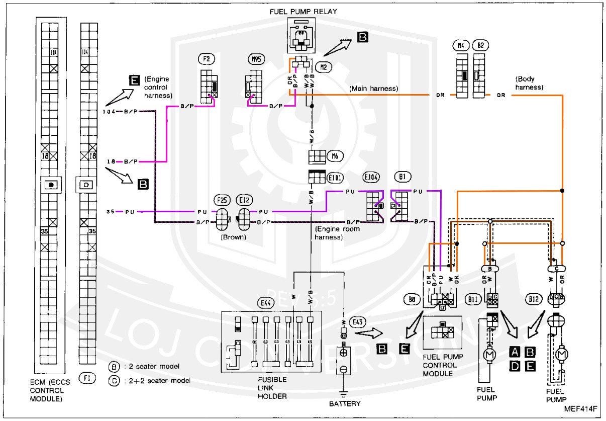 so you can see here that the fuel pump relay has four wires going to it   two white/black wires, one orange wire, and one black/pink wire