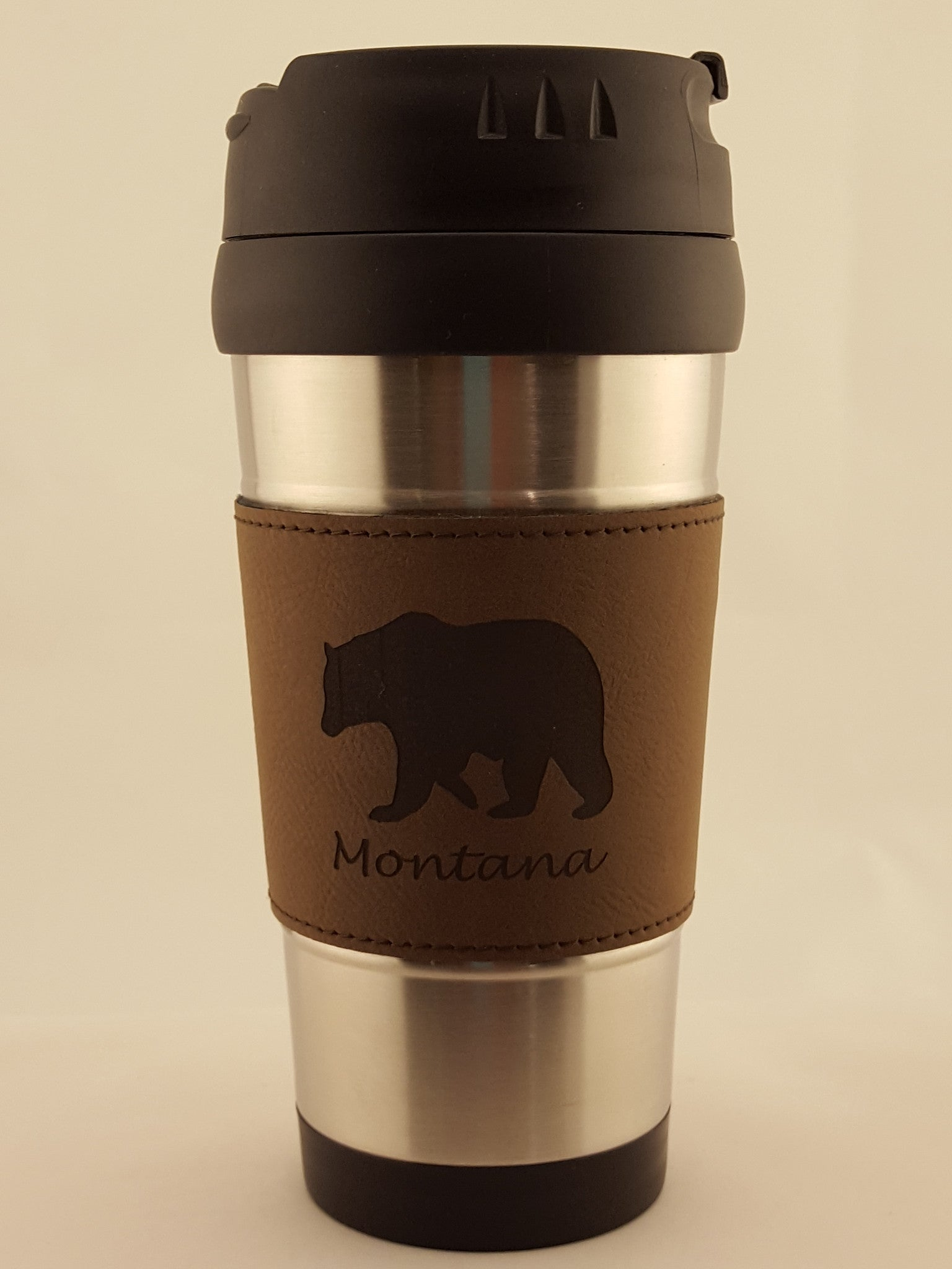 Stainless Steel Travel Mug w/Leatherette Wrap Engraved with Wildlife