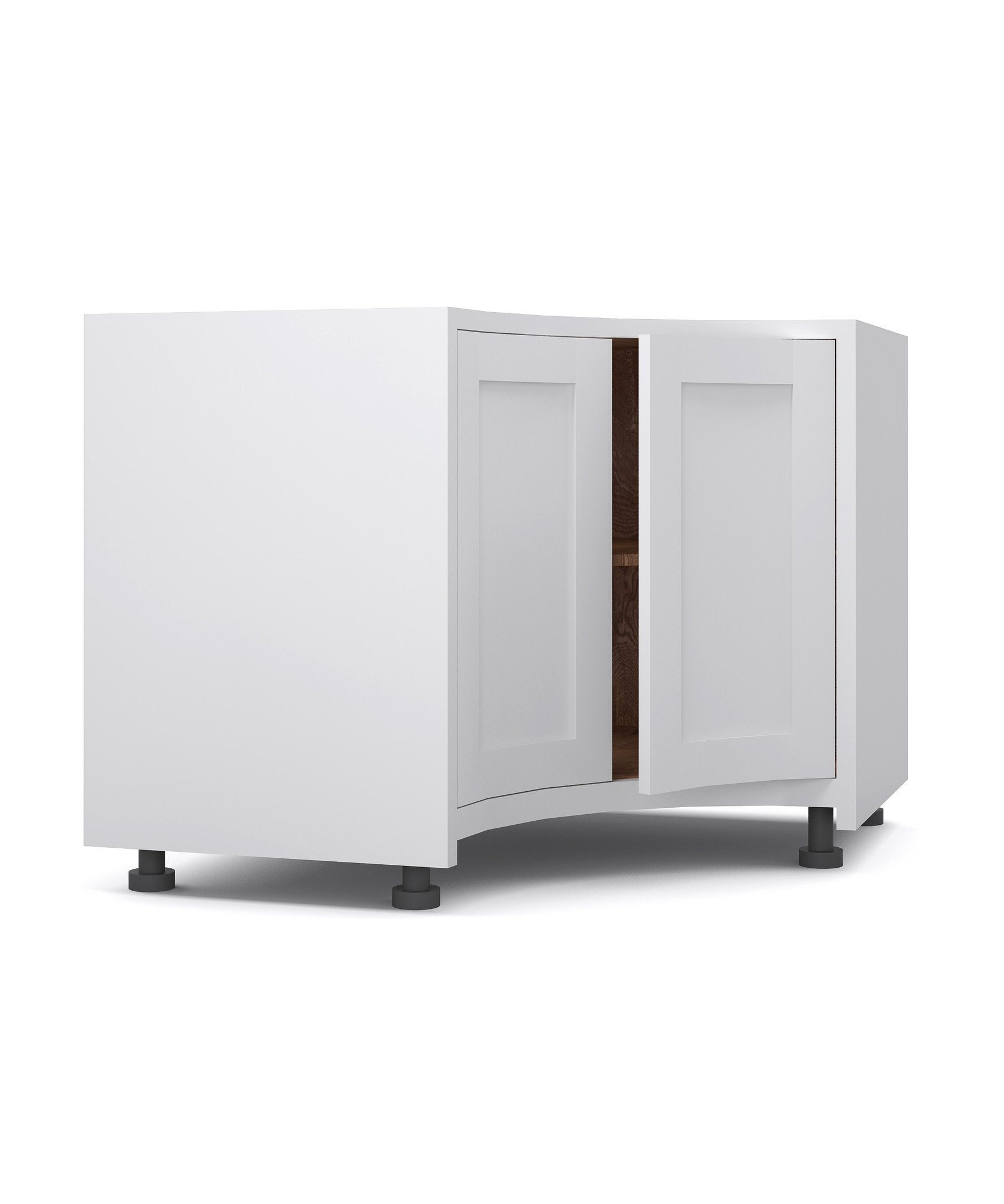 Double Door Concave Curved Base Cupboard   The White Kitchen Company